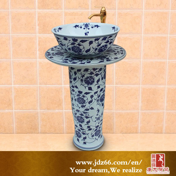 Chinese style glazed hand painted house decorative bowl pedestal sink bathroom basins