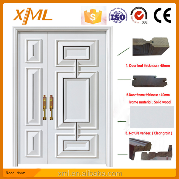 France design White Main entrance double leaf door / White Villa entrance wood door