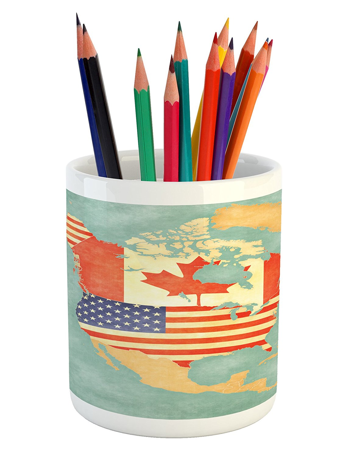 World Map Pencil Pen Holder by Lunarable, States and Canada Outline Map of the North America in Grunge Stylized Soft Colors, Printed Ceramic Pencil Pen Holder for Desk Office Accessory, Multicolor