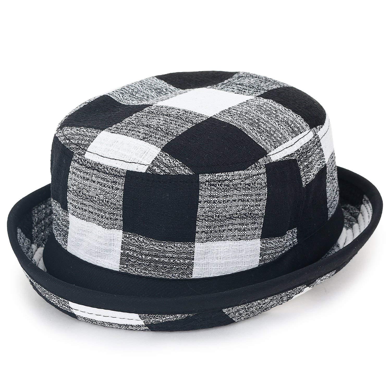 4fd74f2ae0f3e Get Quotations · ililily Checkered Pattern Pork Pie Rolled Trim Brim Flat  Top Fedora Bucket Hat
