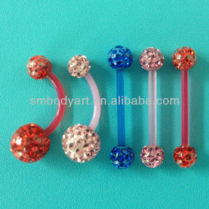Bioplast Flexible Crystal Ferido Navel Belly Ring And Tongue Barbell Piercing Smebr001