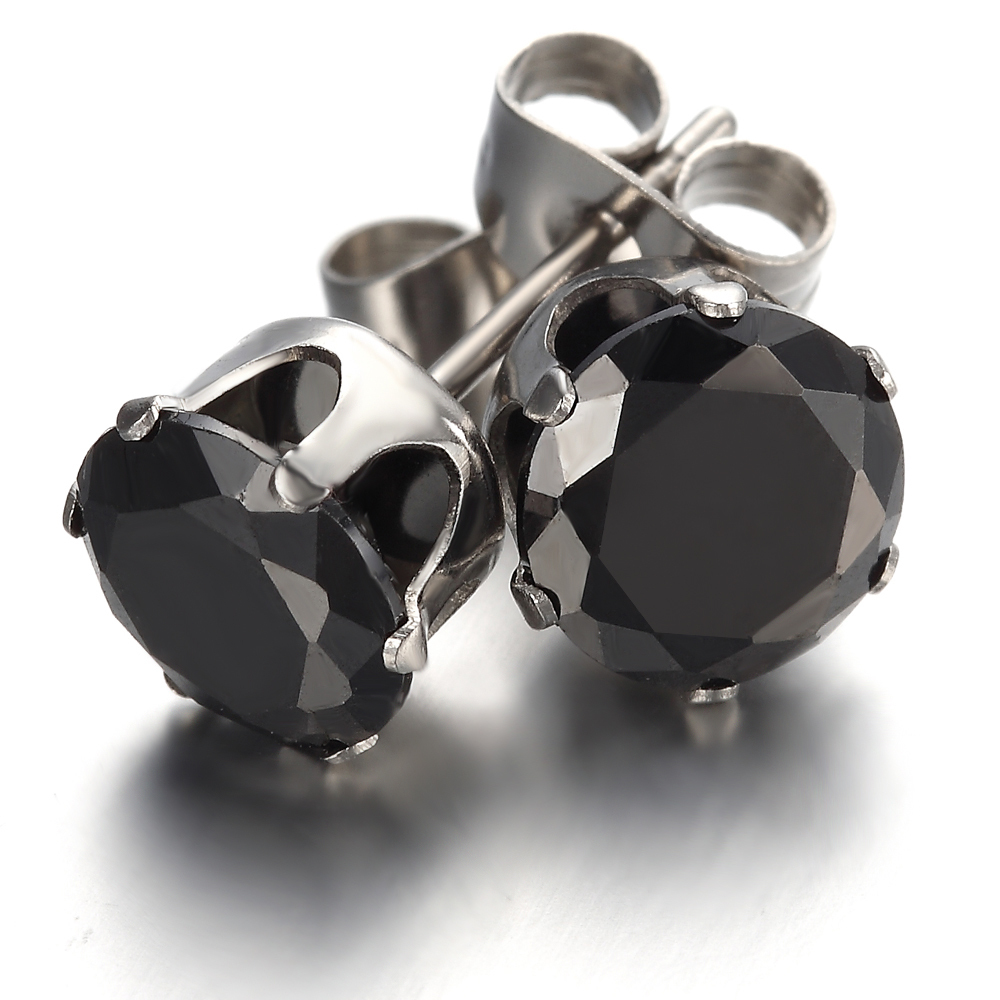 Get Quotations Stainless Steel Mens Las Earrings Studs Black Round Crystal Ke763