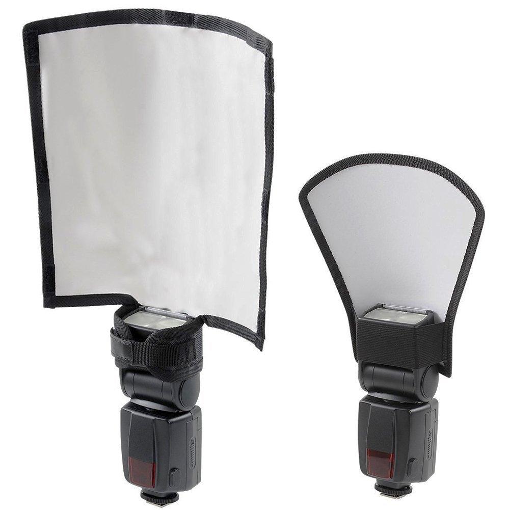Eleshroom Flash Diffuser Reflector Set, Large Diffuser Reflector & Medium Silver/White Reflector For Speedlite Photography/Outdoor Shooting --- Mounted On Speedlight of Canon, Nikon, Sony, Pitex