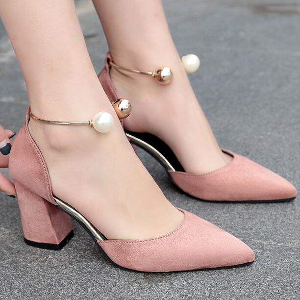 cz18023a New elegant high heels women party shoes sexy chunky heel leather pumps lady sandal