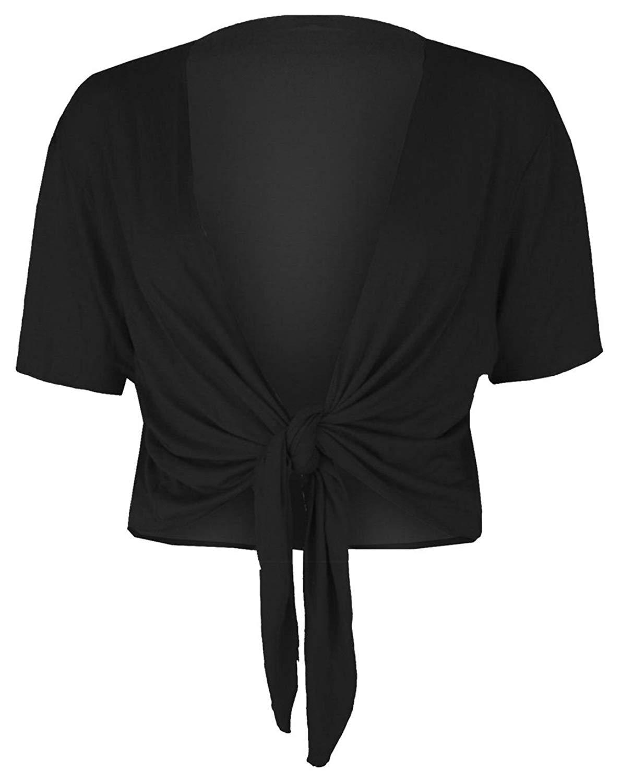 REAL LIFE FASHION LTD Womens Short Sleeve Tie Up Front Cardigan Ladies Bolero Shrug Cropped Cardigan