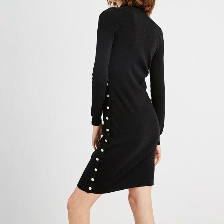 ขายส่งฤดูใบไม้ร่วงฤดูหนาวผู้หญิง Slim ชุดสูทสีดำถักเสื้อกันหนาว
