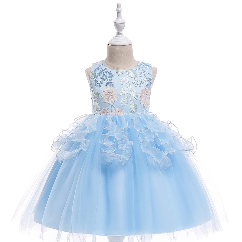 Amazon Hot sale Korea Style Light Blue embroidery Flower Girl Puffy Party Dress фото