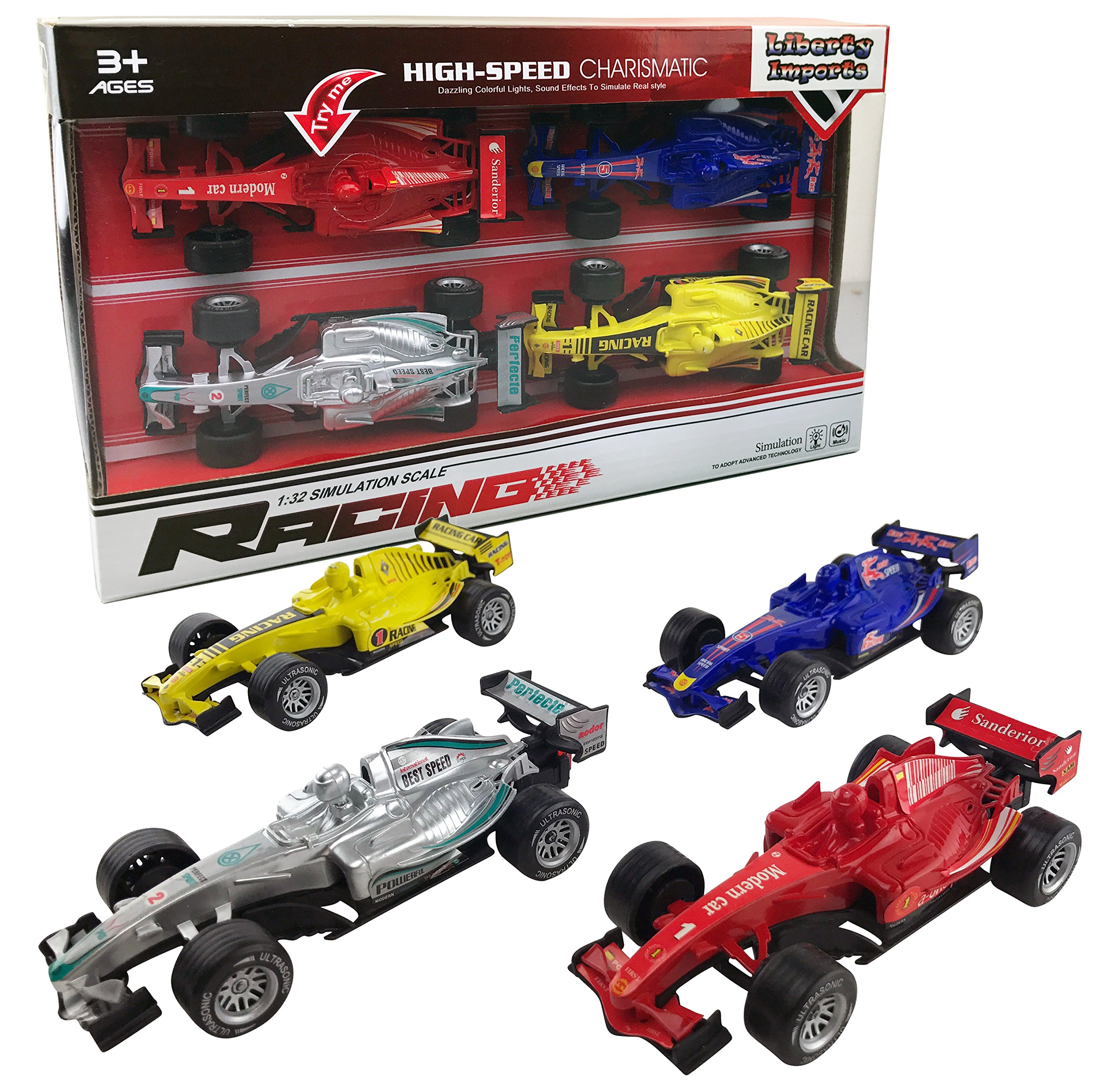 Liberty Imports Set of 4 Pullback Formula Race Cars Light Sound Effects
