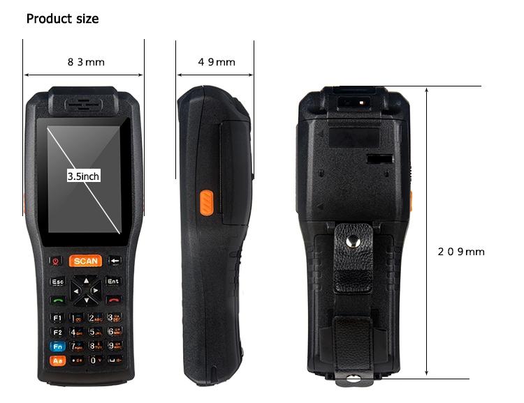 3.5 inch cầm tay hậu cần pda với được xây dựng trong máy in, android pos thiết bị đầu cuối, mã qr pda máy quét