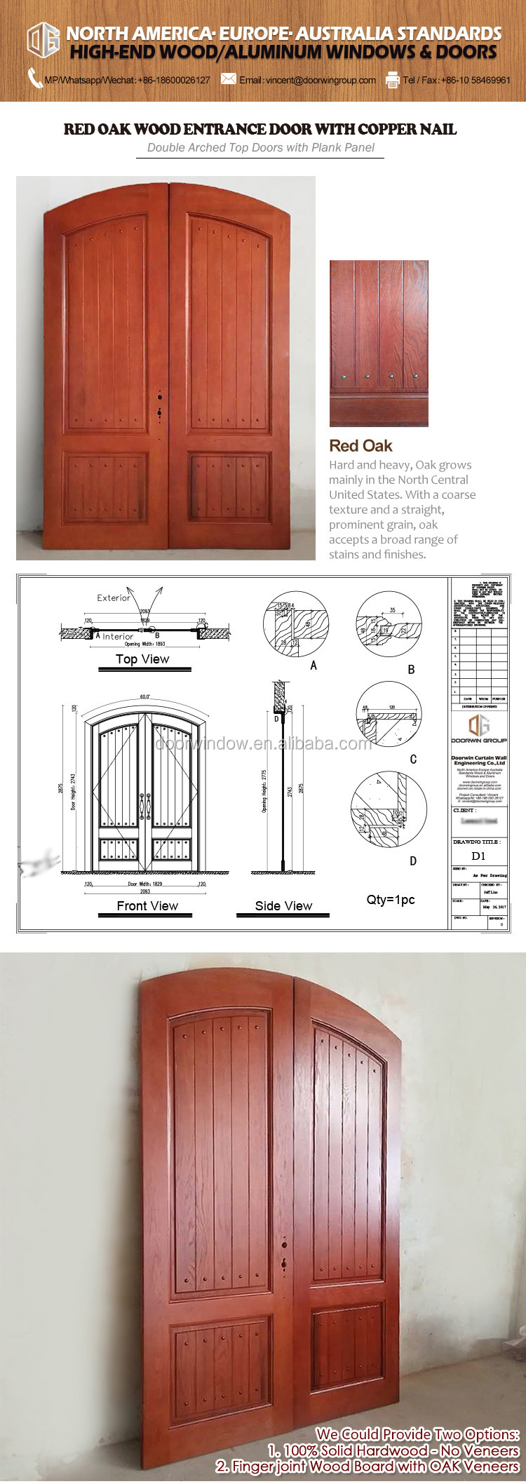100% Solid Red Oak Wood Round Top Arch Design Double Entry Door