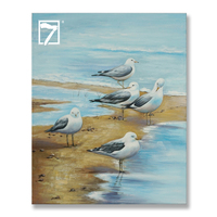 Handmade Original Paintings Sea Bird Oil Painting Stretched Ready to Hang