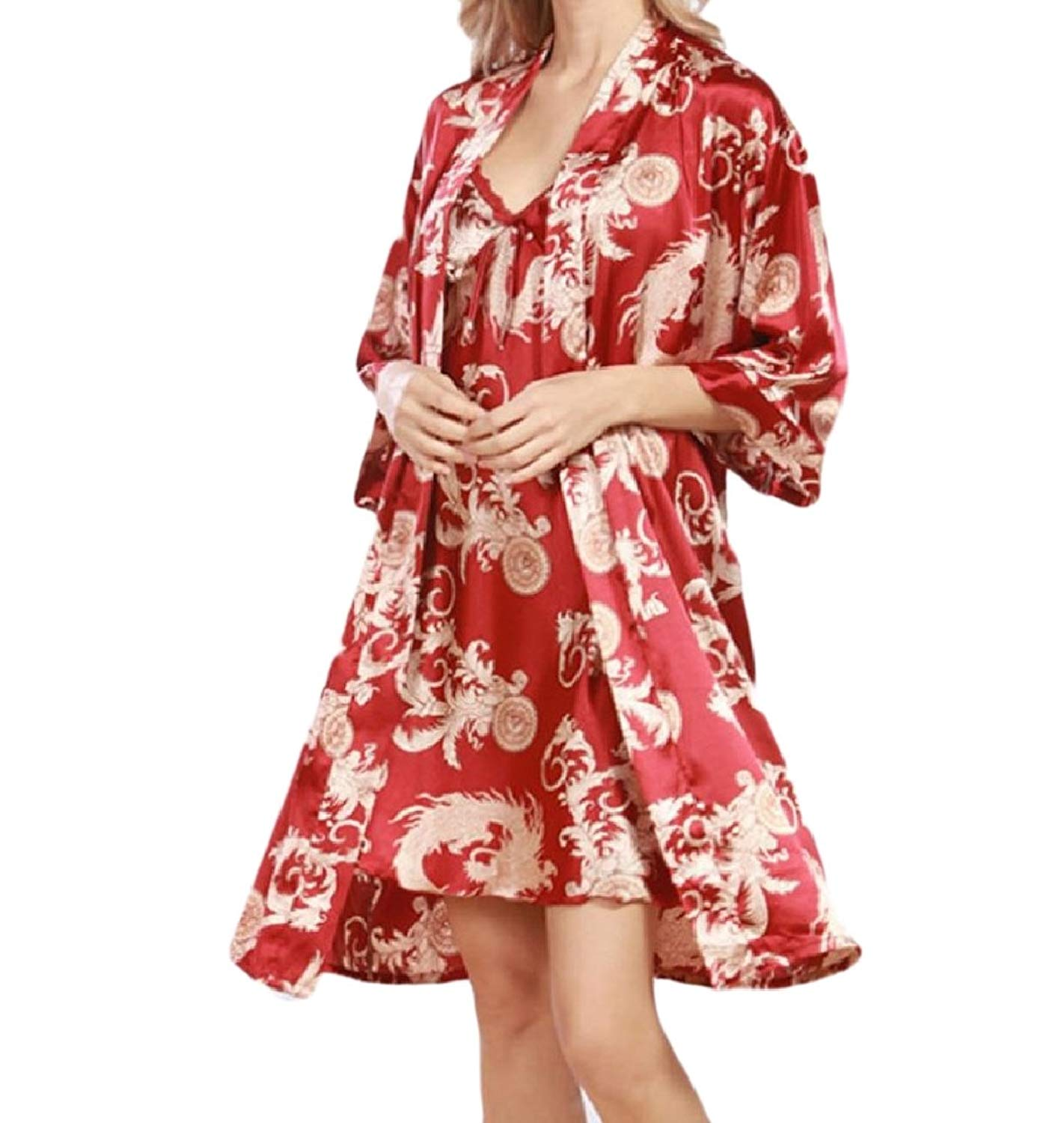 Zimaes-Women Women Summer Cardigan Casual Pajamas Set 2-Piece Night-Gown Sleepwear