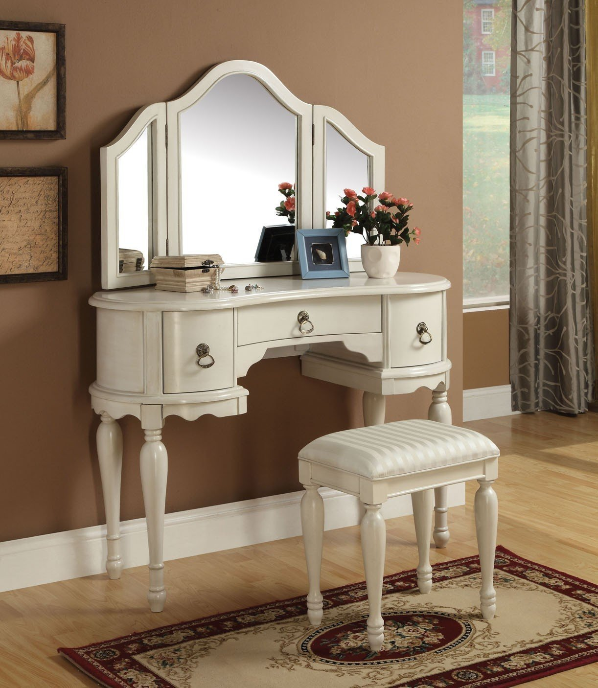 Blanche 3 Piece Vanity Set in Off-White Finish with Swing Tri-Fold Mirror - Vanity, Vanity Mirror & Bench