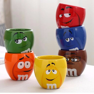 Cartoon M&M'S Chocolate Candy Mugs Cups 100ml Mini Ceramics Coffee Milk Breakfast Cup For Christmas Gift