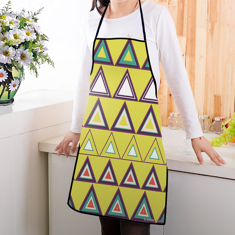 Cartoon Kitchen Painted Colorful Geometric Triangles Adults Chef Apron Custom Logo
