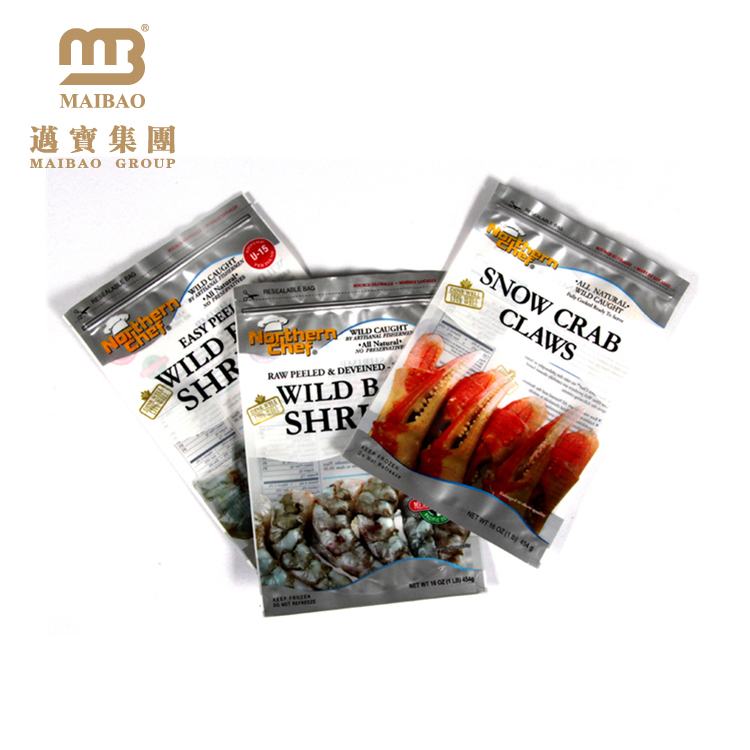 Three Side Sealed Custom Vivid Printing Shrimp Ziplock Aluminum Foil Plastic Packaging Bags for Frozen Food