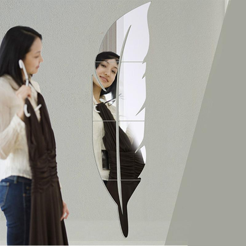 Feather Tip Right Mirror Wall Stickers Fashion Creative Minimalist Home Classic Mirror Wall Stickers