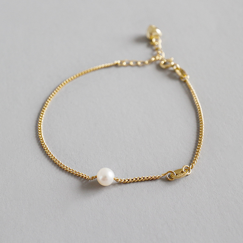 Fashion sterling silver chain freshwater pearl bracelet women