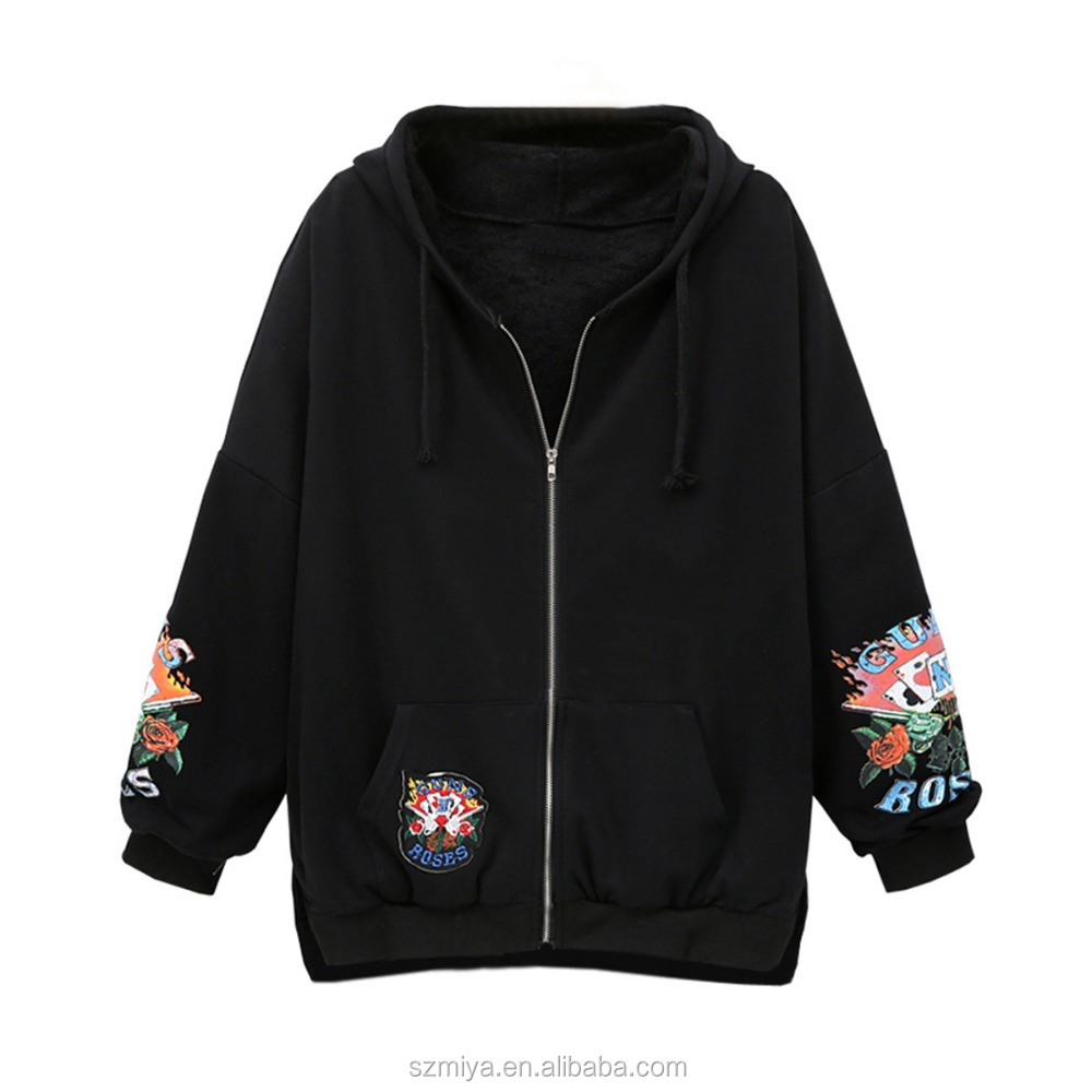 Polycotton fleece Europen und USA lose stil druck sweatshirts frauen zip up hoodies