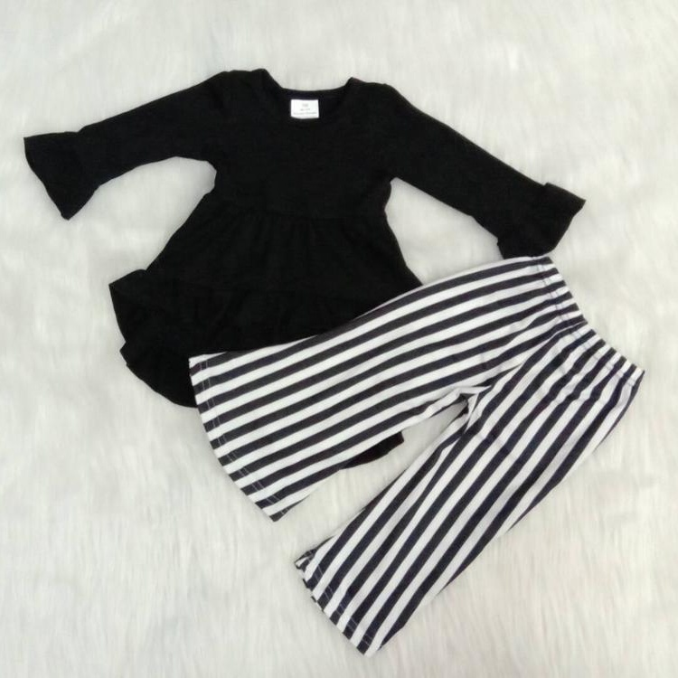 Baby girls Black hi-low tunic long sleeve with bell stripes bottom pants boutique outfits kids fall clothing sets фото