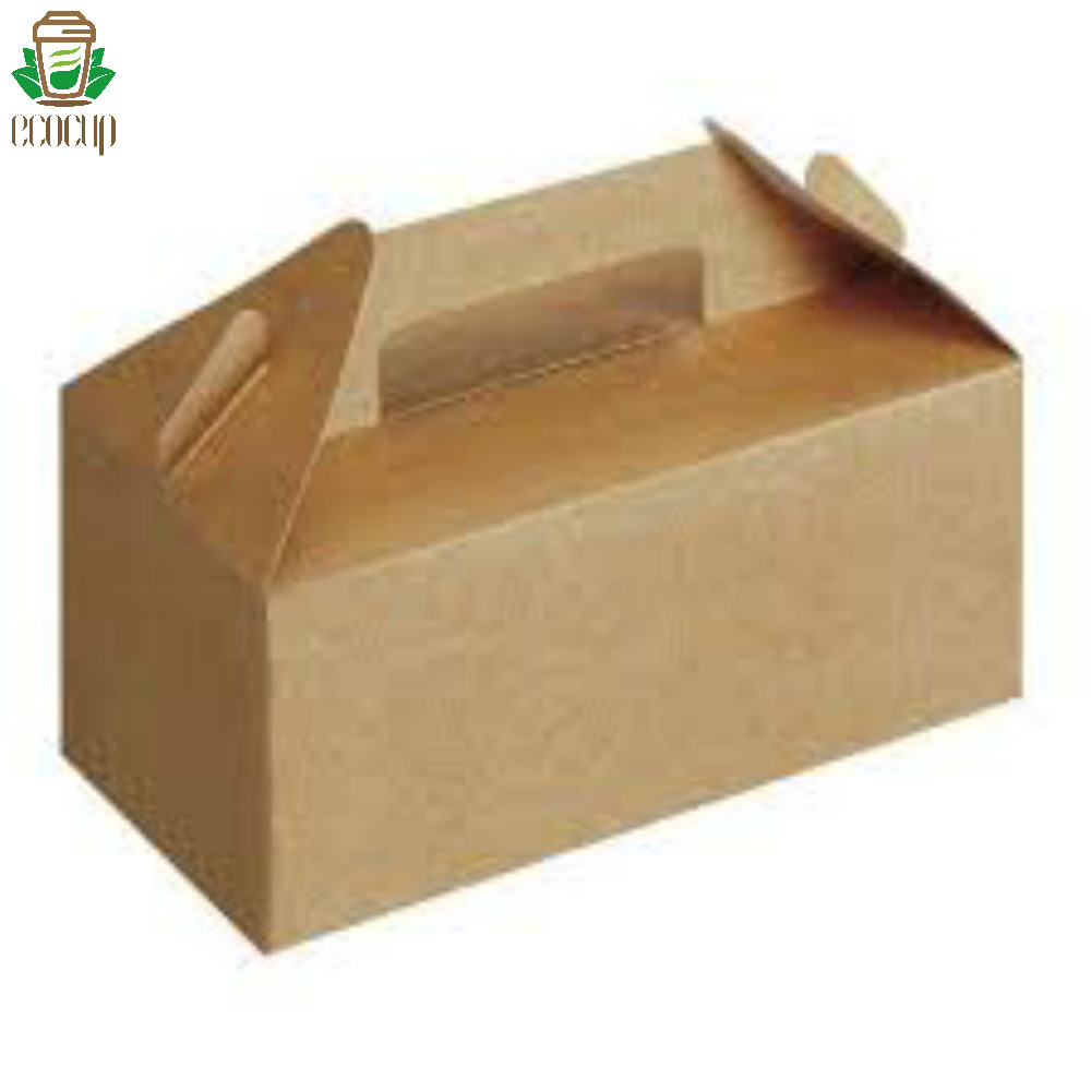 disposable kraft brown biodegradable paper food container with handles for fried fish food takeaway