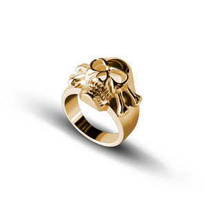 wholesale 2019 arrival delicate alloy brass gold fille ring designs for men personalized 18k gold plated custom brass skull ring
