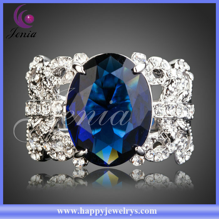 2014 Lady's Fashion Flower Gold Ring Blue Crystal Jewellery (XR080)