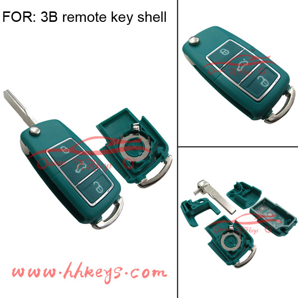 3buttons flip replacement shell dark green key case folding car key for VW