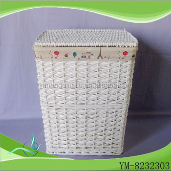 Hot White Wicker Storage Corner Laundry Basket