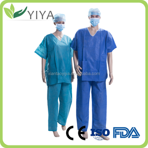 Hospital disposable SMS scrub suit for patient / patient gown use in hospital