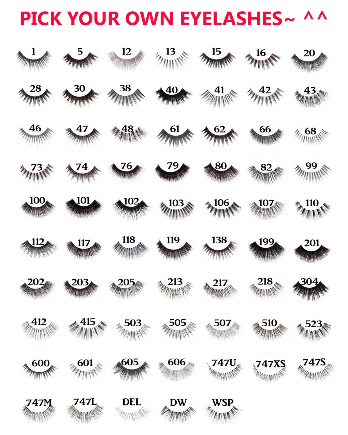 "10 Pairs of Red Cherry 100% Human Hair False Eyelashes ""Pick Your Choice of any 10 Pairs"" - Mighty Gadget"