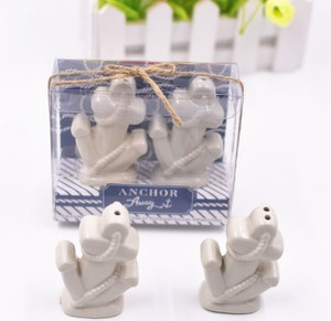 """Anchors Away"" Ceramic Salt and Pepper Shakers wedding favors return gift"