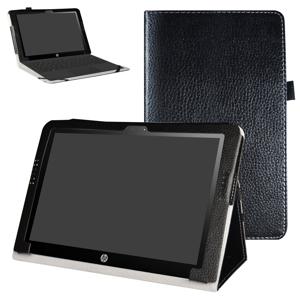 """Mama Mouth PU Leather Folio 2-folding Stand Case Cover for 10.1"""" HP X2 10 10-p010nr 10-p020nr 10-p092ms Tablet(Only fit HP X2 10 10-p000nr series,not fit HP Pavilion x2 10 10-n000nr series),Black"""