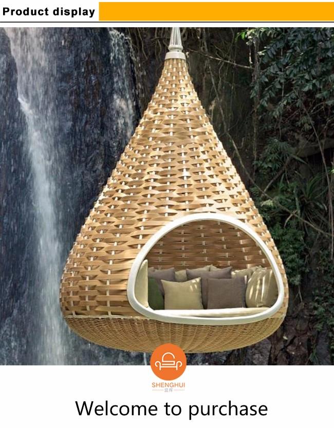 Cozy Brown Single Seat Outdoor Indoor Rattan Wicker Cone Hanging Swing
