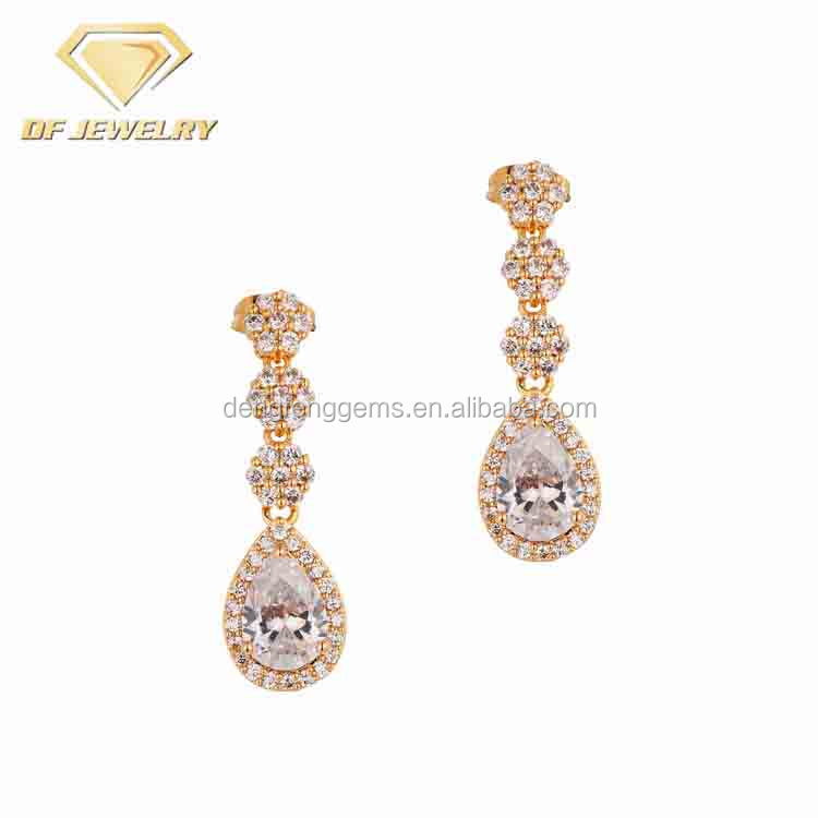 High Quality Indian Brass Diamond Zircon Gold Women Jewelry Set