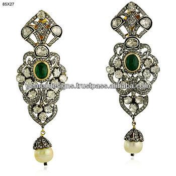 Designer Diamond Emerald Gold Jhumka Earrigns,Uncut Diamond ...