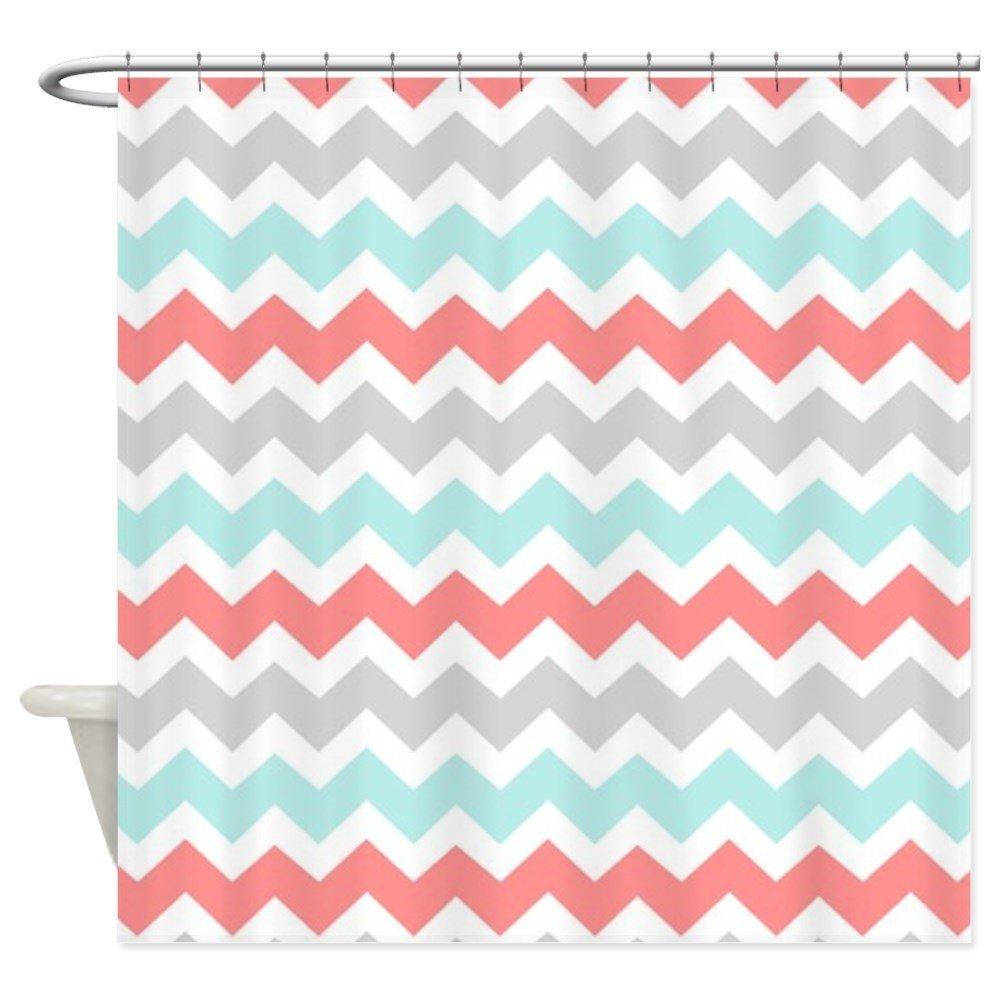 Buy CafePress Coral Aqua Grey White Chevron Shower Curtain