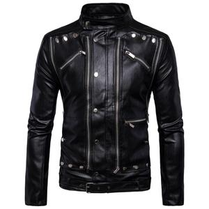 New fashion Men's motorcycle locomotive multi-zip slim causal pakistan leather jacket