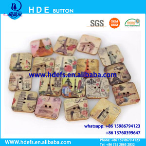 Two holes square shape wood button