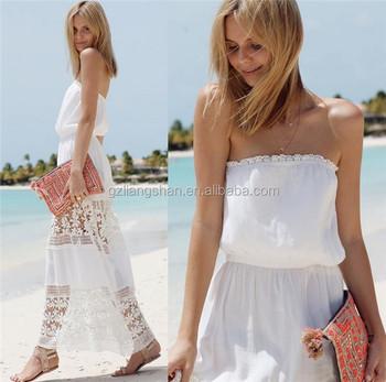 2015 busana musim panas wanita berpakaian model panjang renda gaun malam  putih renda gaun panjang lutut 6668bcea16