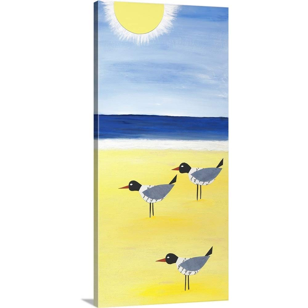 "greatBIGcanvas Gallery-Wrapped Canvas Entitled Three Seagulls On The Beach Jennifer Peck 24""x48"""