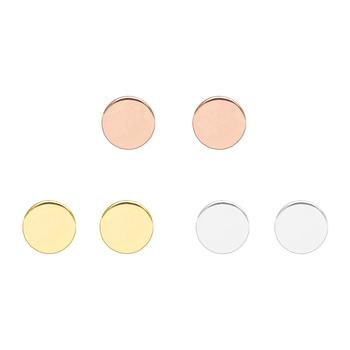 9e227a634fd4 Diseño minimalista de plata oro rosa plateado cobre geométrico redondo  disco plano baratos pendientes venta