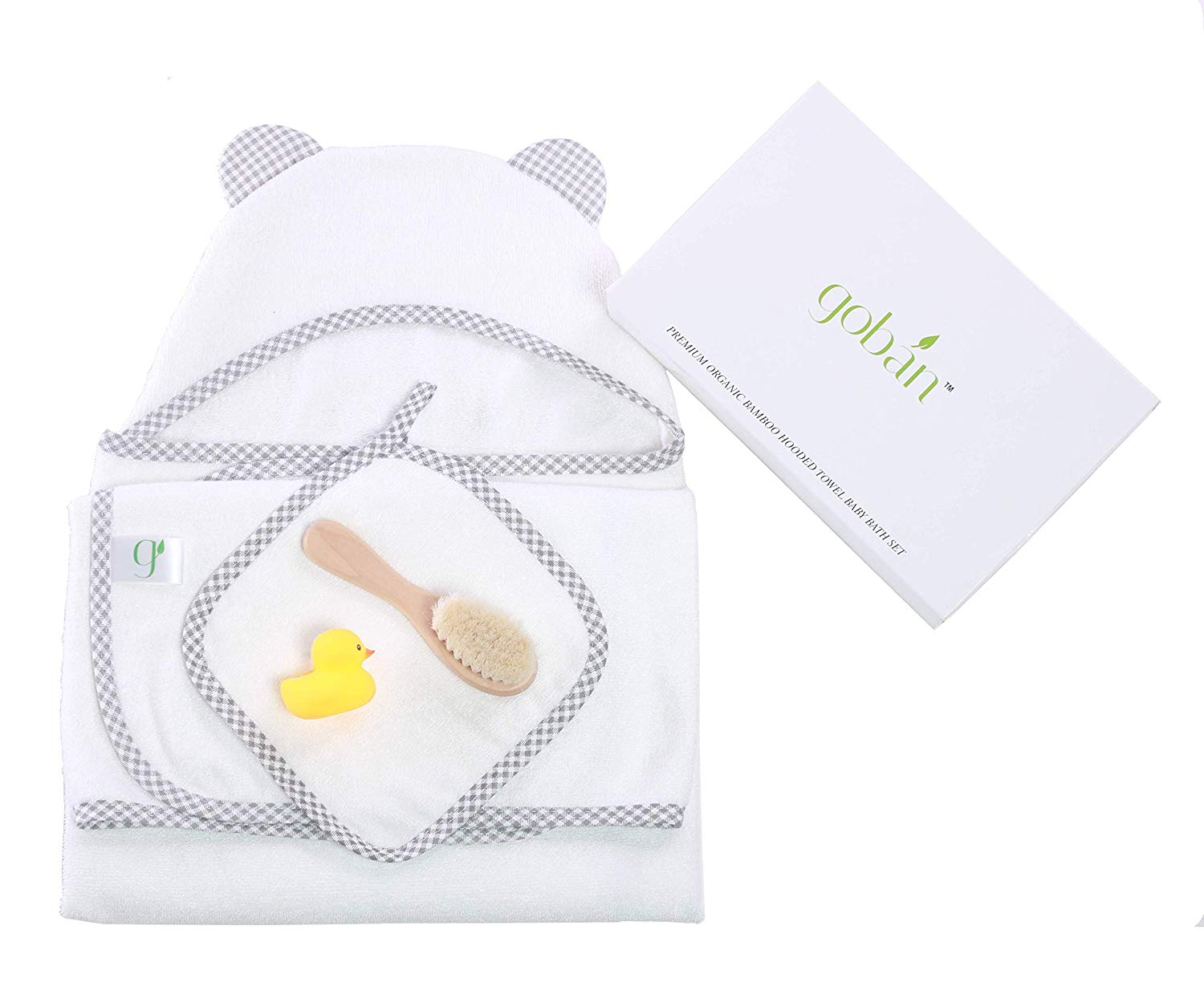 gobán Premium Organic Bamboo Hooded Towel Baby Bath Set | 600GSM Ultra Soft Unisex Hooded Towel Gift Set for Infants and Toddlers | Includes Hooded Towel, washcloth, Rubber Duck and Ultra Soft Brush