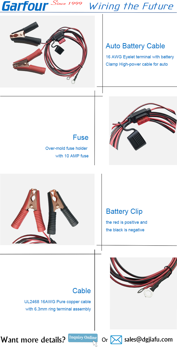 Automotive 16AWG Battery Clamp cable 12V 24V red black clips ring lug fuse assembly