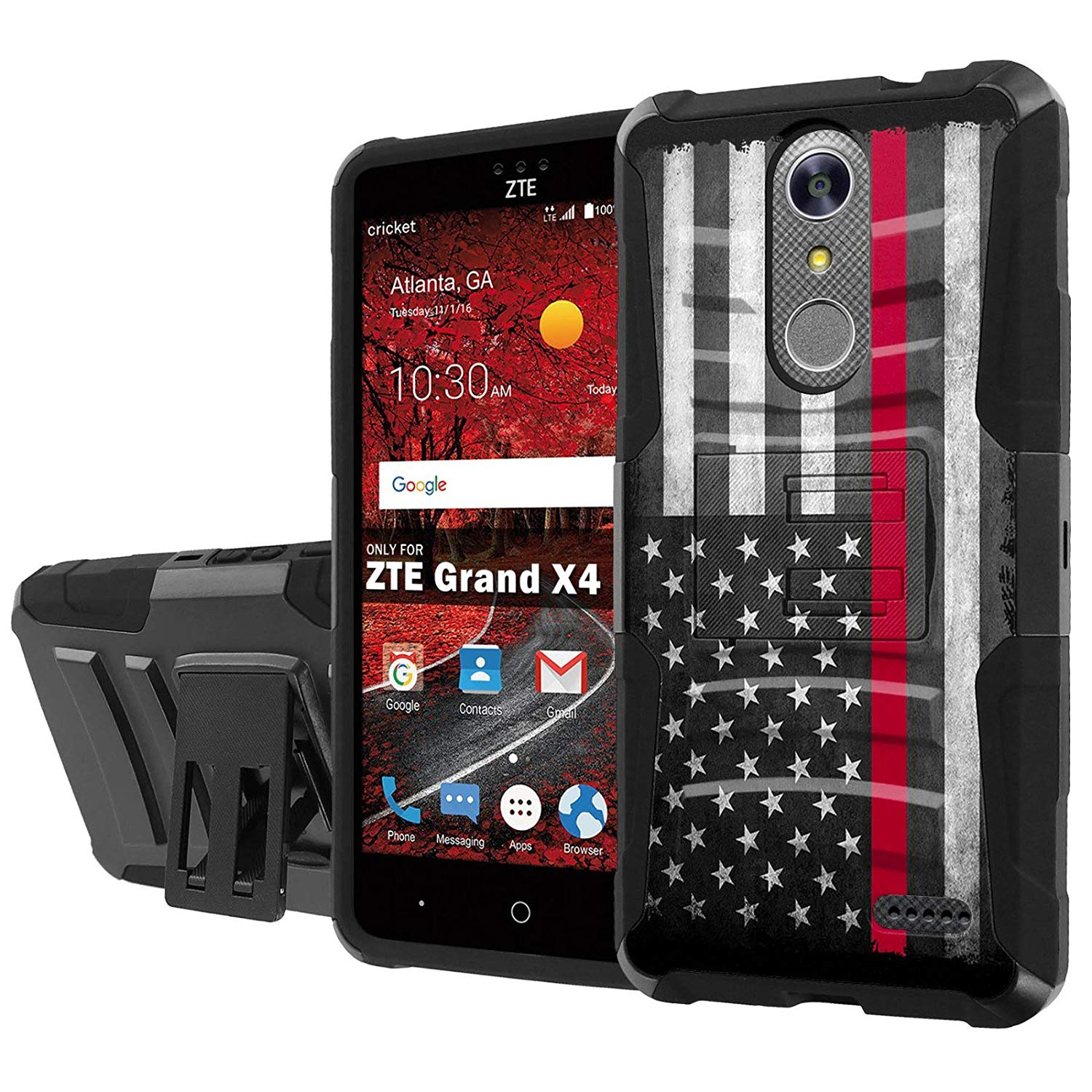 ZTE [Blade Spark] [ZTE Grand X 4] [Armor Case] [SlickCandy] [Black/Black] Heavy Duty Defender [Holster] [Kick Stand] - [Fire Fighter Red Line] for ZTE [Blade Spark] [ZTE Grand X 4]