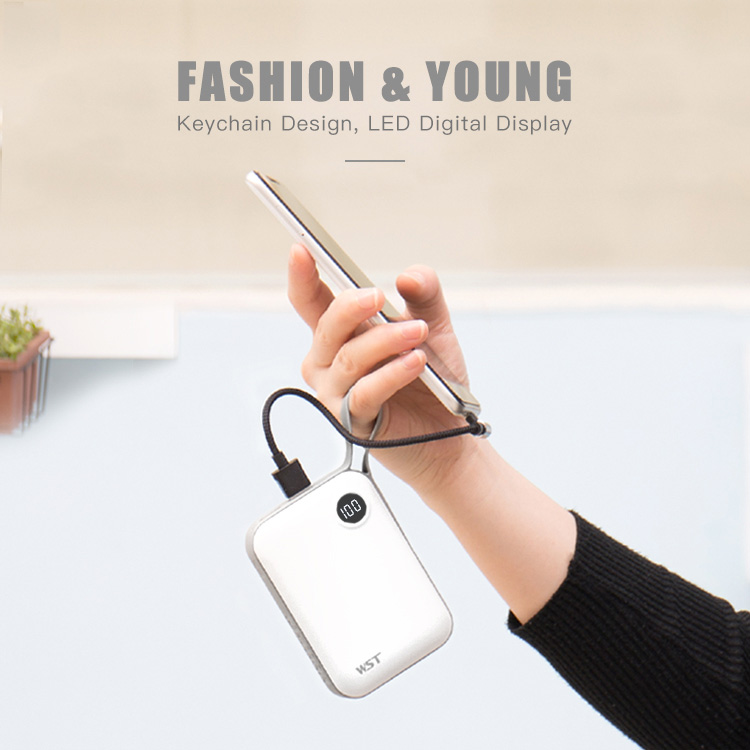 WST LED digital display micro usb / type c best quality power bank 10000mah
