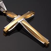 Amazing 316L Mens Cross Pendant Silver Gold Steel Chain