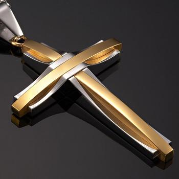 Amazing 316l mens cross pendant silver gold steel chain buy mens amazing 316l mens cross pendant silver gold steel chain aloadofball Images