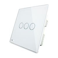 Livolo VL-C303-62 Toughened Glass Backlight Indicator 3 Gang touch switch for New