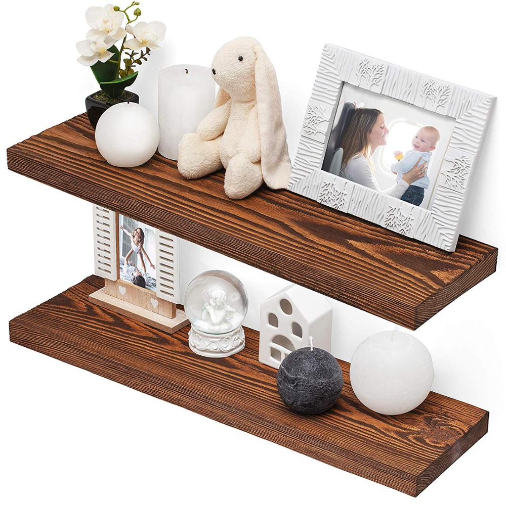 Floating Shelves Wall Mounted Modern Rustic All Wood Wall Shelves Set of 2 for Bedroom Bathroom Family Room Kitchen